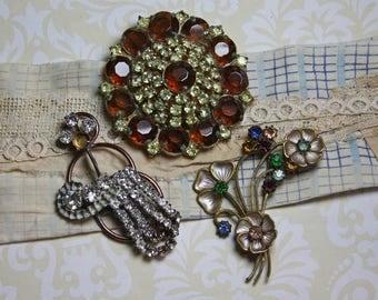 Vintage RHINESTONE Jewelry- Brooch Broken Parts- Pins- Antique Sparkle- Junk Jewelry- Deco Pin- Glam Sparkle Jewelry