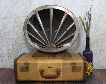 Operadio Speaker- Vintage Electronics 1925 Industrial Cast Iron with Decorative Front Plate- Antique Radio Speaker