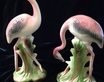 1950s Pair of Vintage Ceramic FLAMINGOS Collectible gift Pink cream and green