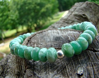 Green Jade and Sterling Silver Beaded Gemstone Stretch Bracelet, Bead Bracelet, Stretch Bracelet, Stacking Bracelet, Sterling Silver Beaded