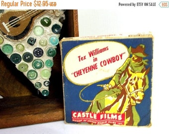 Vintage Tex Williams 8 mm movie - Cheyenne Cowboy- by Castle films -- Great western collectible or home decor