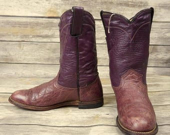 Vintage Cowboy Boots Abilene Womens Mauve Leather Size 7 M Cowgirl Distressed
