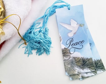 Peace Bookmarks - Inspirational Bookmarks - Book Club Favors - Winter Bookmarks - Nature Bookmarks - Holiday Bookmark - Stocking Stuffer