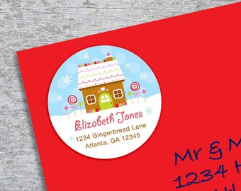 Personalized Christmas Address Label - DIY Printable - 2 Inch Circle - Gingerbread House (Digital File)