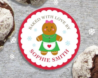 Personalized Baked with Love Christmas Gift Tags or Stickers - 2, 2.5 or 3 Inch Circle - DIY Printable - Gingerbread Baker (Digital File)