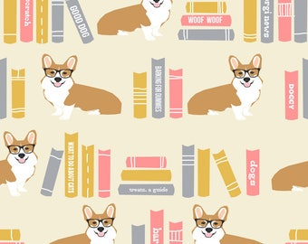 Corgi Books Fabric - Corgi In Library Library Book Librarian Dog - Yellow By Petfriendly - Corgi Cotton Fabric by the Yard with Spoonflower