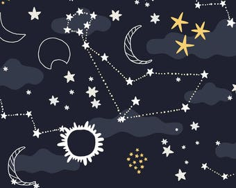 Celestial Constellation Fabric - Solar Eclipse By Kostolom3000 - Eclipse Sky Sun Moon Stars Cotton Fabric By The Yard With Spoonflower