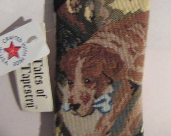 Tapestry Fabric Jack Russell/German Shorthair Cushioned Eyeglass Case made in USA