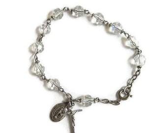 SALE Aurora Borealis Crystal Bead Chaplet Bracelet Sterling Silver Vintage Catholic Religious