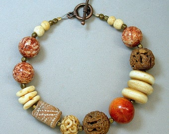 Vintage Apple Red Orange Coral Bead Bracelet ,Vintage Carved Bone Beads, Vintage Hedaio Buddha Bead,Vintage Amber Fossil Stone