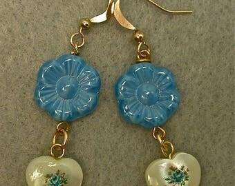 Vintage Japanese HEART Tensha Mother Of Pearl Bead Earrings ,Blue Flower Dangle Drop, Vintage German Blue Pressed Glass Flower Bead,Gold