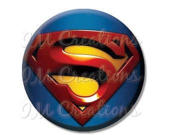 "25% OFF - Superman Hero Pocket Mirror, Magnet or Pinback Button - Favors - 2.25""- MR476"