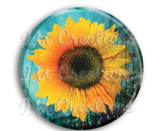 "50% OFF - Sunflower Pocket Mirror, Magnet or Pinback Button - Wedding Favors, Party themes - 2.25"" MR502"