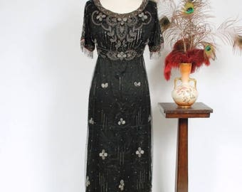 Memorial Weekend Sale - Vintage Edwardian Dress - Exquisite Titanic Era Silk Dress with Beaded Net and Silver and Metallic Embroidery c. 191