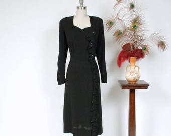 50% CLEARANCE Vintage 1940s Dress - Sultry Black Rayon Sequined Waterfall Ruffle 40s Cocktail Dress with Strong Shoulders and Sweetheart Nec