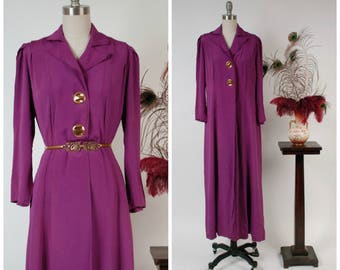 Vintage 1940s Coat - Spring 2018 Lookbook - Bold 1930s Vibrant Purple Silk Formal Overcoat or Duster with Goldtone Buttons