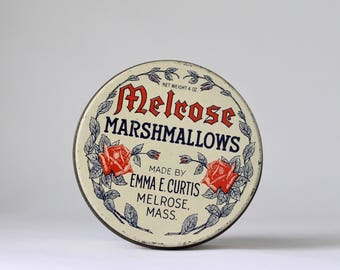 Melrose Marshmallows Tin, Antique Sweets Tin, Emma Curtis Melrose Mass, Antique Candy Tins, Litho Tins, New England Confectionary