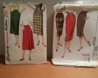Two Vtg 1950 Patterns McCalls 4680 Waist 24 Hips 33 Simplicity 4377 Waist 24 Hip 38 / Skirt Patterns  / 1950s pattern / pattern instructions