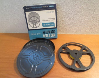 Vtg Automatic Reel and Can / Metal Vintage Film Reel / Outer Container / Montgomery Wards 8mm film reel and can / Great Condition
