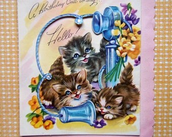 Vintage Die Cut Kittens Cats with a Candlestick Telephone Greeting Card