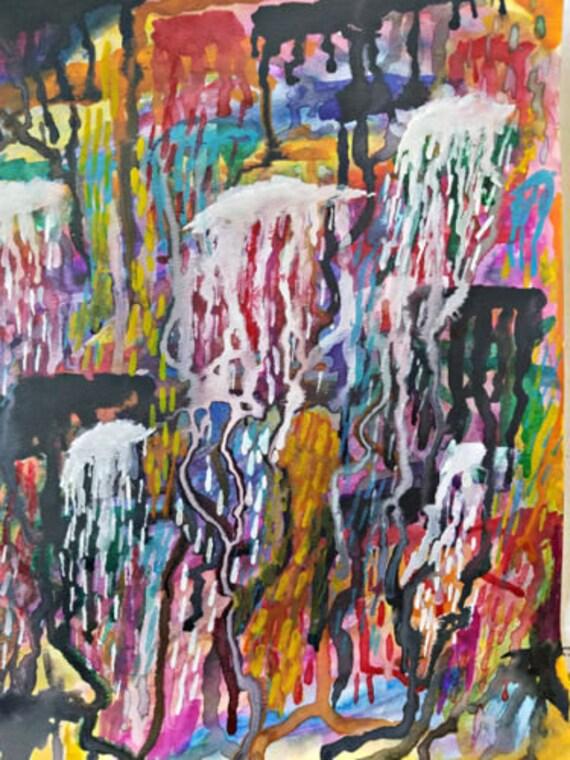 "dARK mATTER cHAKRA abstract art painting original watercolors DRIPS 11"" x 15"" modern contemporary artwork"
