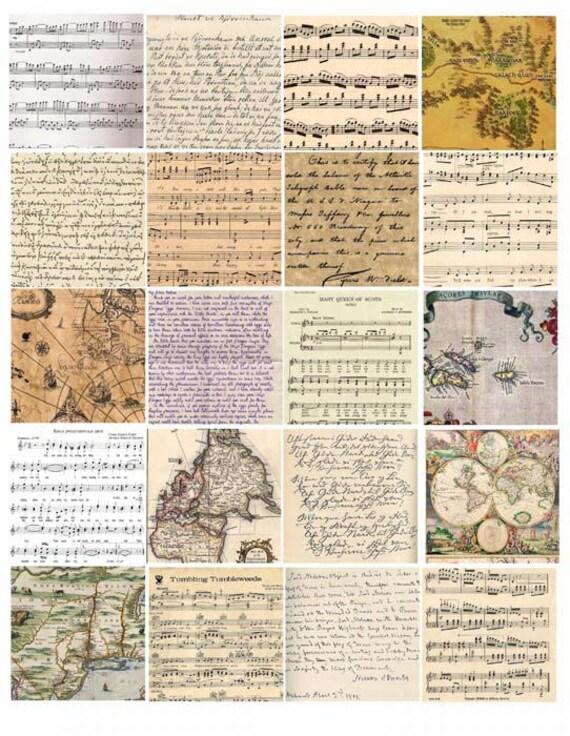 vintage handwriting maps sheet music collage sheet 2 INCH squares ephemera old paper digital download image graphics printables