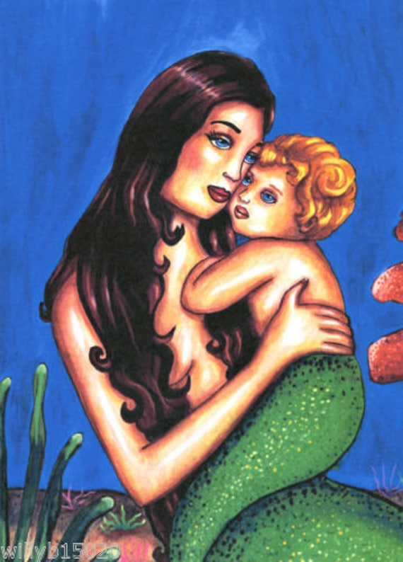 Mommy And Me mermaid woman art print original fantasy fairytale artwork baby boy family modern paintings