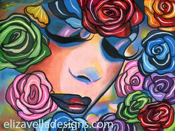 Lady Of The Roses abstract original art painting acrylics flowers surreal fantasy woman
