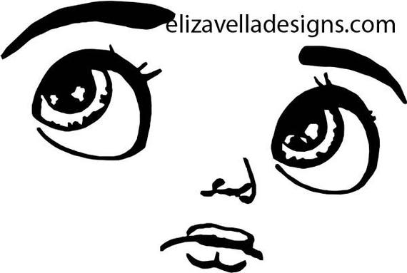 digital big eye boy doll face clipart png clip art graphics Image Download eyes lips JPG PNG  digital stamp black and white printables
