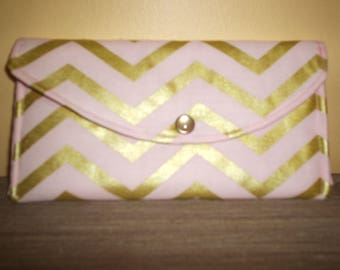 Pink and Gold Chevron Wallet