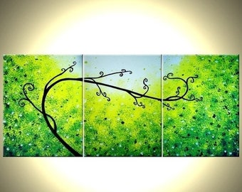 Abstract Green Tree, Original Palette Knife Landscape Painting by Dan Lafferty - 24 X 54 - FREE US Shipping