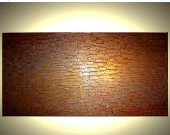 Abstract Painting, Gold ORIGINAL Art, Palette Knife, Textured Impasto, by Lafferty Art - 48x24, Sale 22% Off