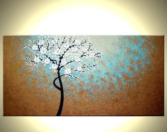 Original Abstract Tree Painting, TEXTURED Cherry Blossom Flowers, 2x4ft Abstract Metallic WHITE Impasto FLORAL, 24x48 by Artist Dan Lafferty