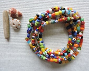 Africa -  Ghana trade beads - set of 7 stretch bracelets- simple, colorful stack - small  Christmas bead stretchies