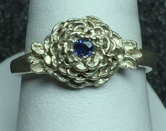 Sterling silver rose ring with sapphire