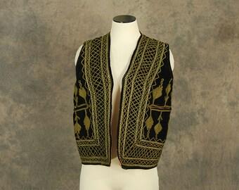 vintage 70s Embroidered Velvest Vest - 1970s Bullion Soutache Vest Tribal Hippie Ethnic Afghan Vest Sz M L