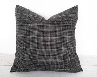Grey Black Plaid Pillow Covers, Grey Dorm Pillows, Grey Throw Pillow, Masculine Couch Pillow, Pillow Throw Decor, Rectangle, 18, 20, 22 26