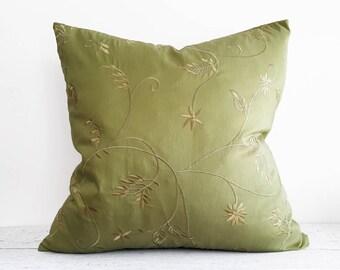 Solid Green Pillow Cover, Green Decorative Pillow, Green Sofa Pillows, Green Throw Pillows 18x18, Embroidered Flowers, 12x20 Lumbar Pillows