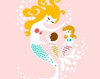 "SUMMER SALE 8X10"" mermaid mother & two baby girls giclee print on fine art paper. light pink, teal, blonde brunette, dark blonde."