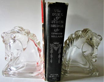 GLASS Deco Federal Horse Head Bookends Paperweight Art Figurine Vintage Shelf Book Ends Door Stoppers Equestrian Arabian Stallion  Detailed