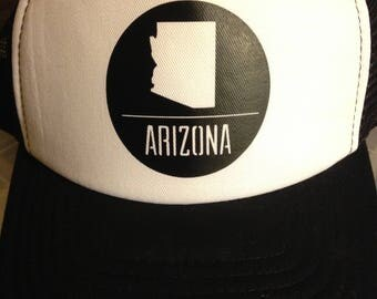 Arizona black and white trucker hat