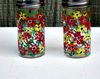 Hand Painted Salt and Pepper Shakers, Table Decoration, Hand Painted, Shades of Red, Yellow and Orange Flowers, Hand Painted Glass