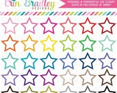 80% OFF SALE Star Frames Clipart Graphics Instant Download Shape Clipart Personal & Commercial Use