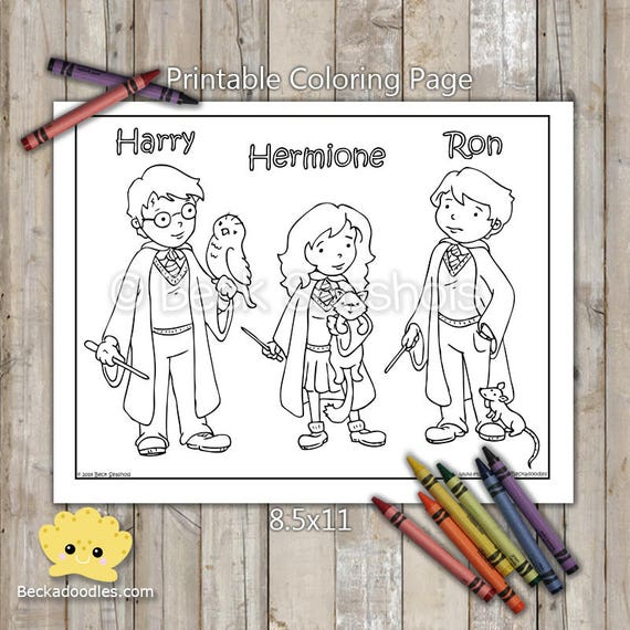 Harry Potter Printable Coloring Page Harry Ron Hermione