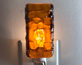 Glass Night Light - Medium Amber Fused Glass Kitchen or Bathroom Night Light, Handmade Unique Gift Idea, Lighting