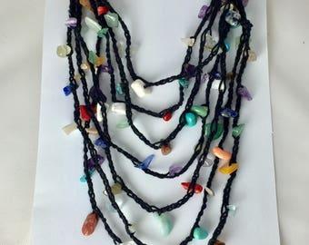 Long wrap crocheted gemstone necklace