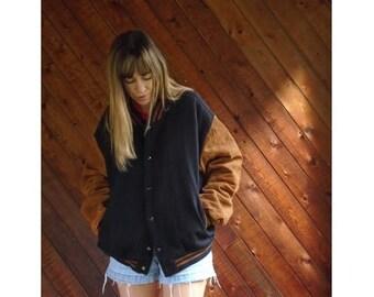 20% off SUMMER SALE. . . Suede Brown + Navy Wool Varsity Jacket - Vintage 90s - L