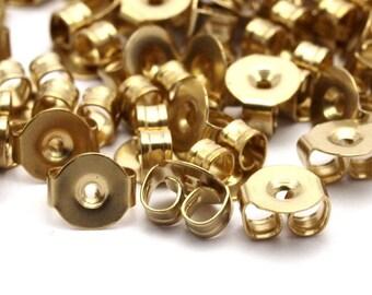 Brass Earring Studs, 250 Raw Brass Earring Studs Back Stoppers (5x4.5mm) Bs1104--a0893
