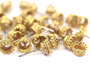 Stainless Steel Posts, 6 Stainless Steel Earring Posts With 4.5mm Raw Brass Prong Setting F028