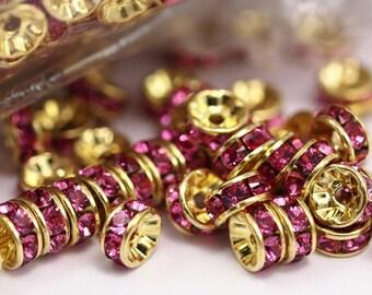 24 Rose Swarovski Rondelle Beads 5mm D027 Y273